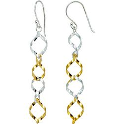 Signature Two Tone Linear Open Twist Earrings