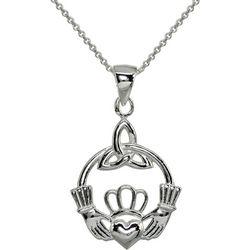 Signature Sterling Irish Claddagh Pendant Necklace
