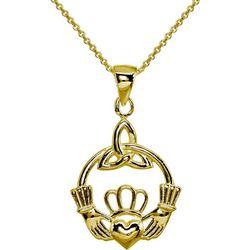 Signature Sterling Irish Claddagh Pendant Necklace