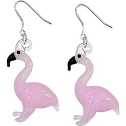 Signature Pink Glass Flamingo Drop Earrings