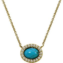 Signature Turquoise Blue Halo Pendant Necklace
