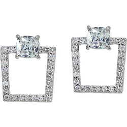 Signature Sterling Silver CZ Post Drop Earrings