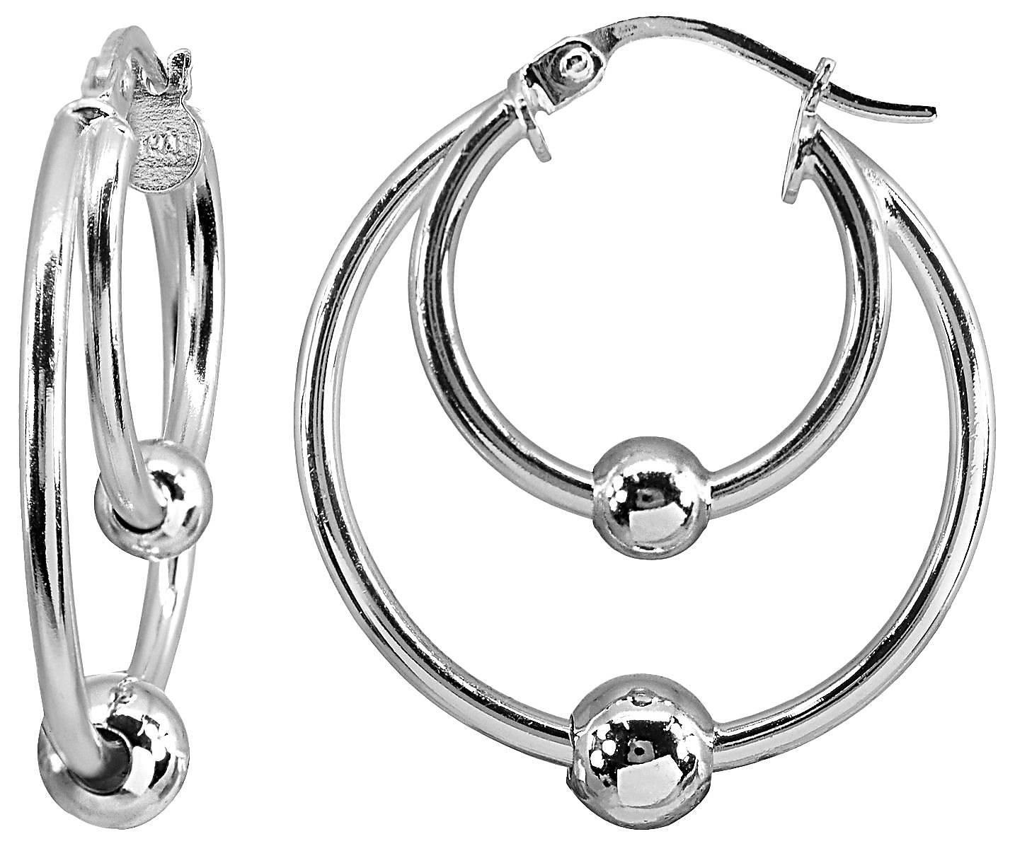 Sterling Silver Double Row Large 48mm Round Hoop Earrings