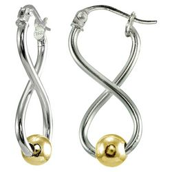 Signature Sterling Two Tone Twist & Ball Earrings