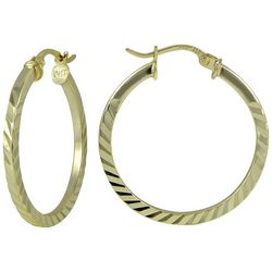 Signature Diamond-Cut Metal Hoop Earrings