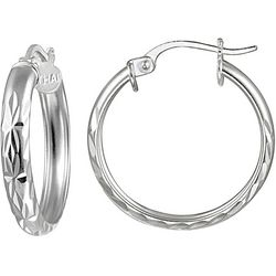 Signature Sterling Diamond Cut 15mm Hoop Earrings