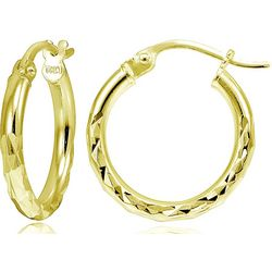 Signature 25mm Diamond Cut Gold Tone Hoop Earrings