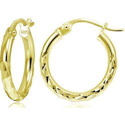 Signature 25mm Diamond Cut Gold Tone Hoop Earrings