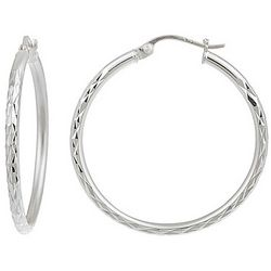 Signature Sterling 25mm Diamond Cut Hoop Earrings