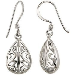 Signature Sterling Silver Filigree Drop Earrings