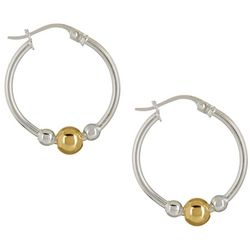Signature Two Tone Bead & Hoop Earrings