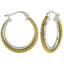 Signature Sterling Silver Two Tone Hoop Earrings