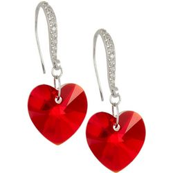 Signature Red Glass Heart Dangle Earrings