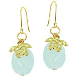 Beach Chic Sea Turtle Charm Glass Bead Drop Earrings