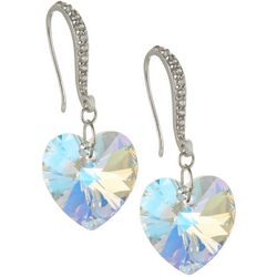 Signature Crystal AB Glass Heart Drop Earrings