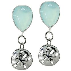 Beach Chic Sand Dollar Post Top Drop Earrings