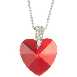 Signature Red Glass Heart Pendant Necklace