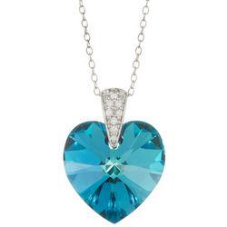 Signature Blue Glass Heart Pendant Necklace
