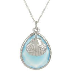 Beach Chic Shell Charm & Glass Teardrop Pendant Necklace