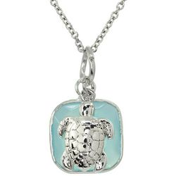 Beach Chic Sea Turtle & Aqua Blue Glass Pendant Necklace