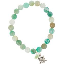 Beach Chic Green Agate Beads Sea Turtle Charm Bracelet