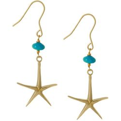 Beach Chic Gold Tone Starfish Drop Earrings