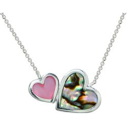 Beach Chic Abalone & Pink Shell Double Heart Necklace