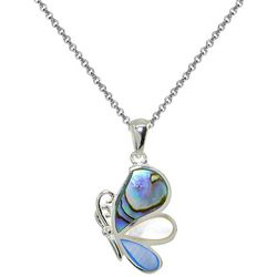 Beach Chic Inlaid Abalone Shell Butterfly Pendant Necklace
