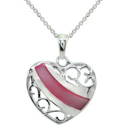 Beach Chic Inlaid Pink Shell Filigree Heart Pendant Necklace