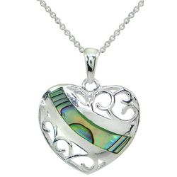 Beach Chic Abalone Shell Inlaid Heart Pendant Necklace