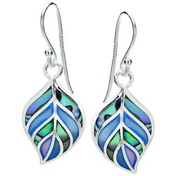 Beach Chic Blue & Abalone Shell Leaf Drop Earrings