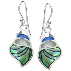 Beach Chic Multi Inlaid Shell Conch Shell Earrings