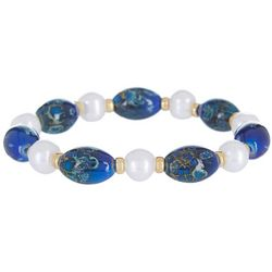 Beach Chic Boxed Blue Lapis & Pearl Bracelet