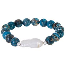Beach Chic Blue Agate & Pearl Nugget Bracelet