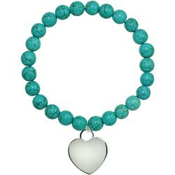 Beach Chic Turquoise Blue Beaded Heart Bracelet