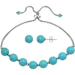 Beach Chic Turquoise Blue Beaded Bracelet Set