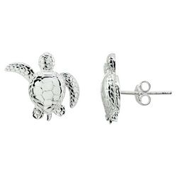Signature Sterling Silver Sea Turtle Stud Earrings