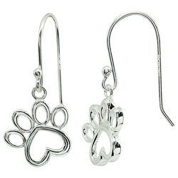 Signature Sterling Silver Paw Print Dangle Earrings