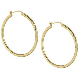 Signature 30mm Gold Tone Diamond Cut Hoop Earrings