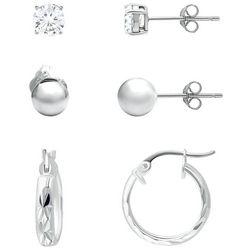 Piper & Taylor 3-Pc. Silver Tone Hoop Post Earrings Set