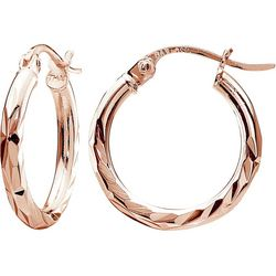 Signature Rose Tone Diamond Cut Hoop Earrings
