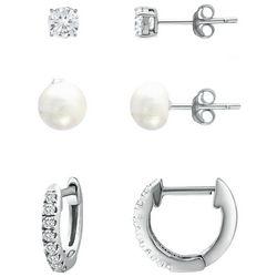 Piper & Taylor 3-Pc. Silver Tone Stud & Cuff Earrings Set