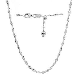 Sterling Silver Singapore Adjustable Necklace