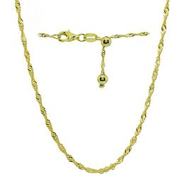 Signature Gold Tone Singapore Chain Adjustable Necklace