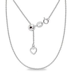 Sterling Silver Cable Chain Adjustable Necklace
