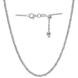 Sterling Silver Sparkle Chain Adjustable Necklace