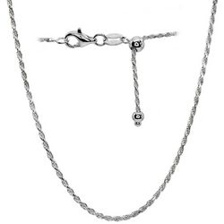 Signature Sterling Silver Rope Chain Adjustable Necklace