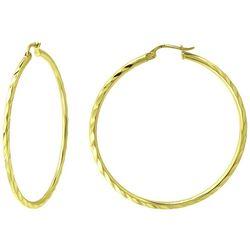 Piper & Taylor Large Diagonal Cut Hoop Earrings