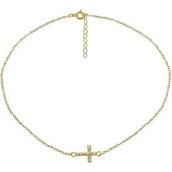 Signature Pave Cross Gold  Anklet