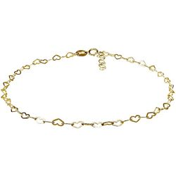Gold Linked Hearts Charm Anklet